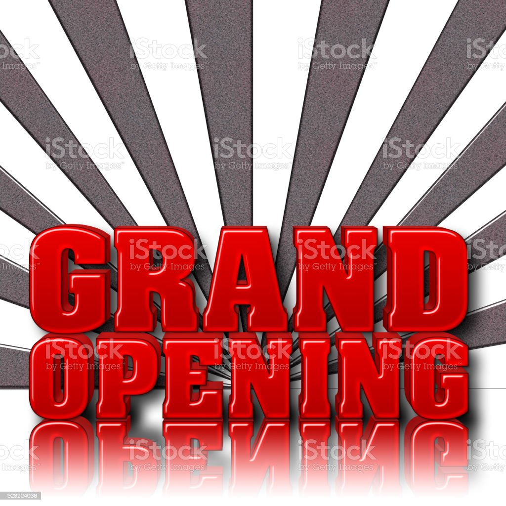 Stock Illustration - Large Red Text: Grand Opening, Copy Space, 3D Illustration, Gradient Background. stock photo