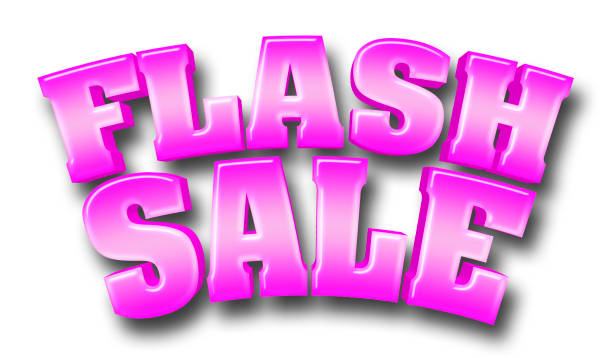 stock illustration - large shiny pink text: flash sale, 3d illustration with shadow, isolated against the white background. - flash stock photos and pictures
