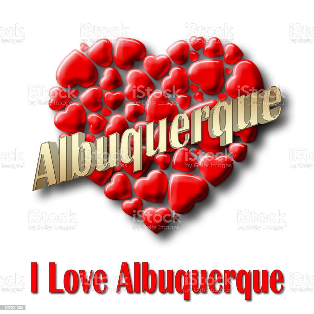 Stock Illustration - Love Albuquerque, 3D Illustration, Isolated against the White Background. stock photo