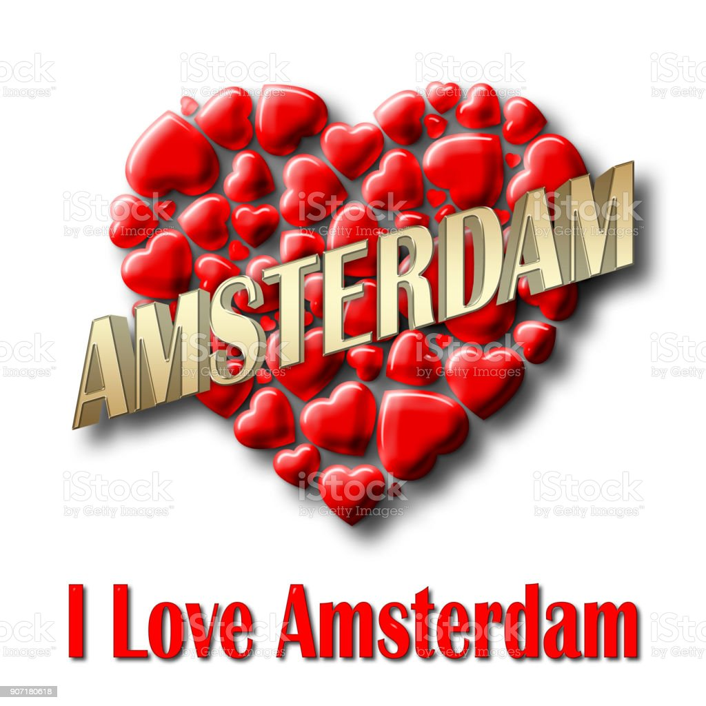 Stock Illustration - Love Amsterdam, 3D Illustration, Isolated against the White Background. stock photo