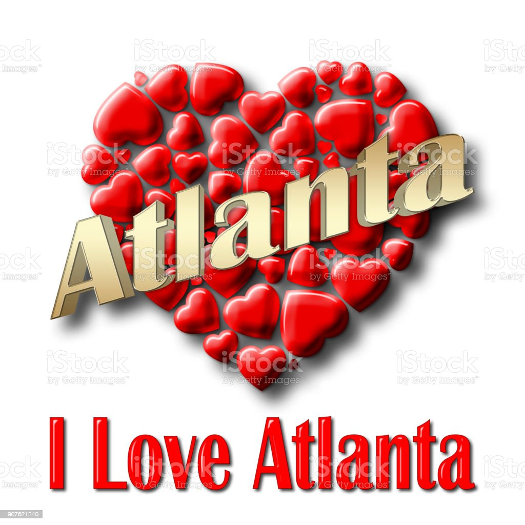 Stock Illustration - Love Atlanta, 3D Illustration, Isolated against the White Background. stock photo