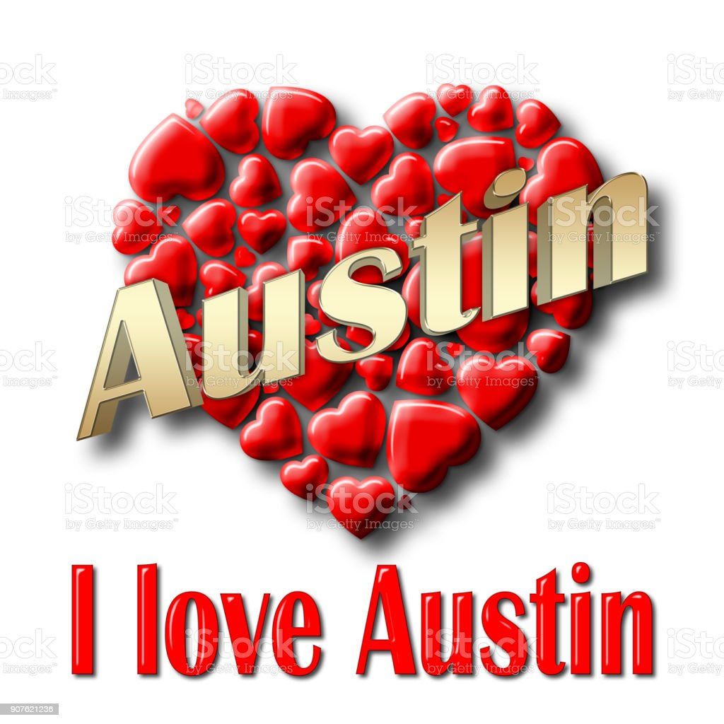 Stock Illustration - Love Austin, 3D Illustration, Isolated against the White Background. stock photo