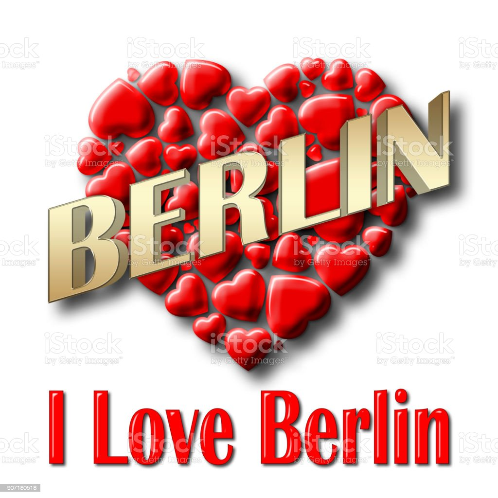 Stock Illustration - Love Berlin, 3D Illustration, Isolated against the White Background. stock photo
