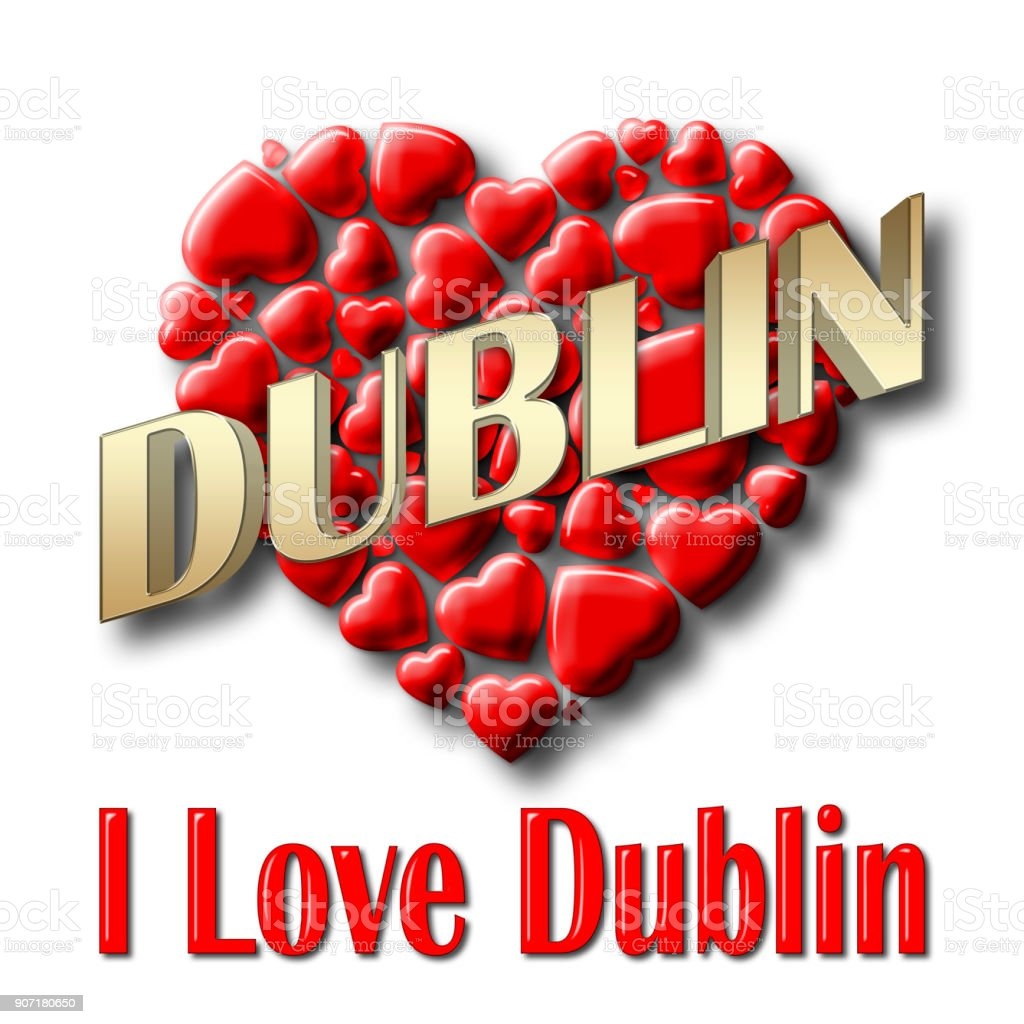 Stock Illustration - Love Dublin, 3D Illustration, Isolated against the White Background. stock photo