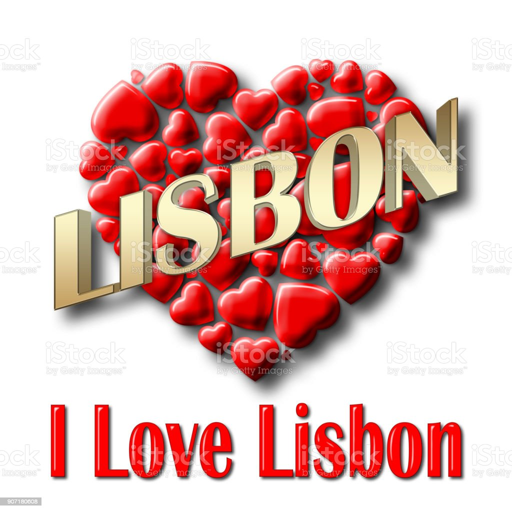 Stock Illustration - Love Lisbon, 3D Illustration, Isolated against the White Background. stock photo