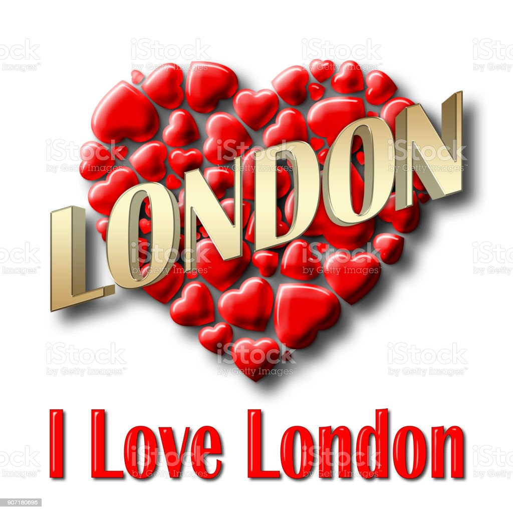 Stock Illustration - Love London, 3D Illustration, Isolated against the White Background. stock photo