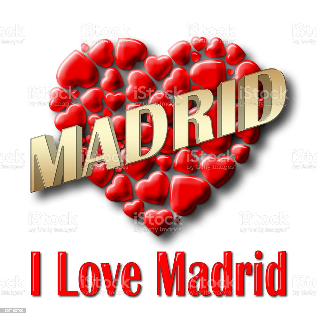 Stock Illustration - Love Madrid, 3D Illustration, Isolated against the White Background. stock photo