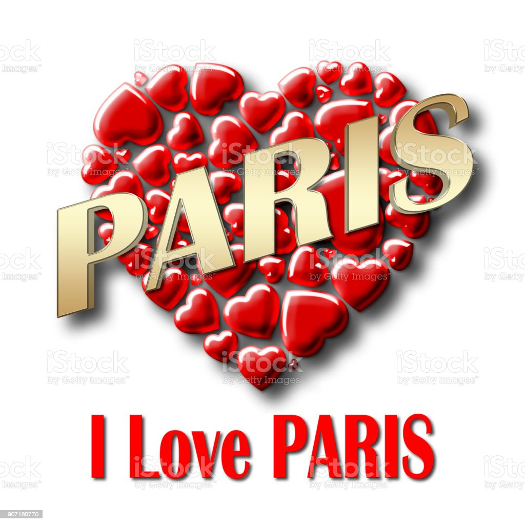 Stock Illustration - Love Paris, 3D Illustration, Isolated against the White Background. stock photo
