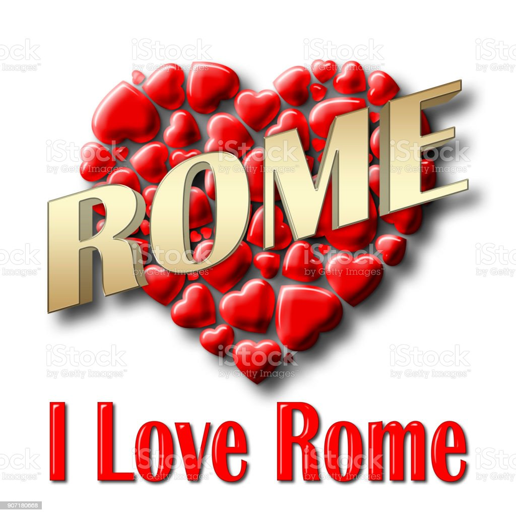 Stock Illustration - Love Rome, 3D Illustration, Isolated against the White Background. stock photo