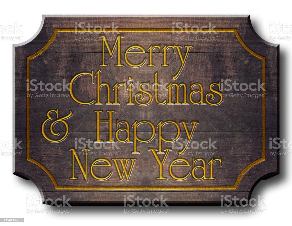 Merry Christmas & Happy New Year Wood Billboard, 3D Illustration,...