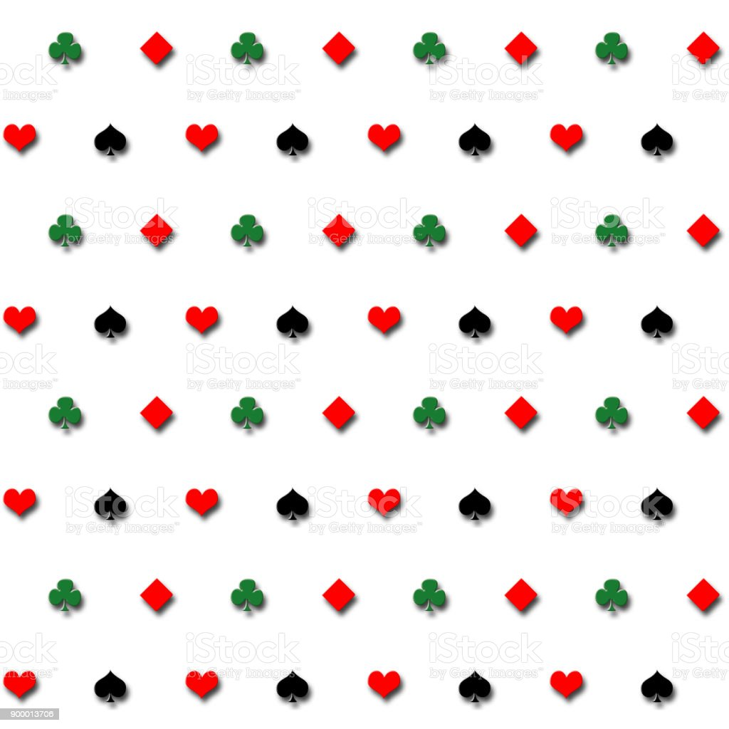 Stock Illustration - Seamless Playing Cards Symbols Pattern, Black, Red and Green, 3D Illustration, Isolated against the White Background. stock photo