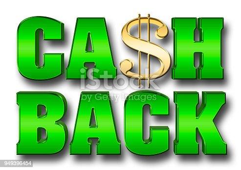 istock Stock Illustration - Shiny Green Metallic Text: CASH BACK, 3D Illustration, Isolated Against the White Background. 949396454
