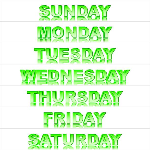 stock illustration - glänzende metallic green text: wochentage, sonntag bis samstag, 3d-illustration, isoliert gegen den weißen hintergrund. - sprüche kalender stock-fotos und bilder