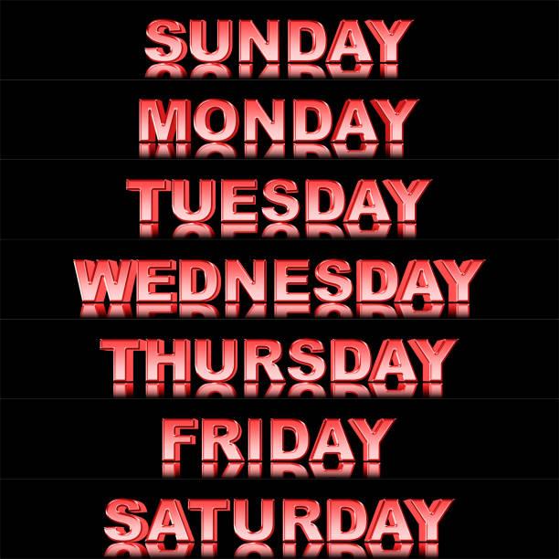stock illustration - glänzende metallic-redtext: wochentage, sonntag bis samstag, 3d-illustration, isoliert gegen den schwarzen hintergrund. - sprüche kalender stock-fotos und bilder
