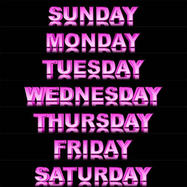 stock illustration - glänzend rosa wochentage sonntag bis samstag, 3d illustration, isoliert gegen den schwarzen hintergrund. - sprüche kalender stock-fotos und bilder