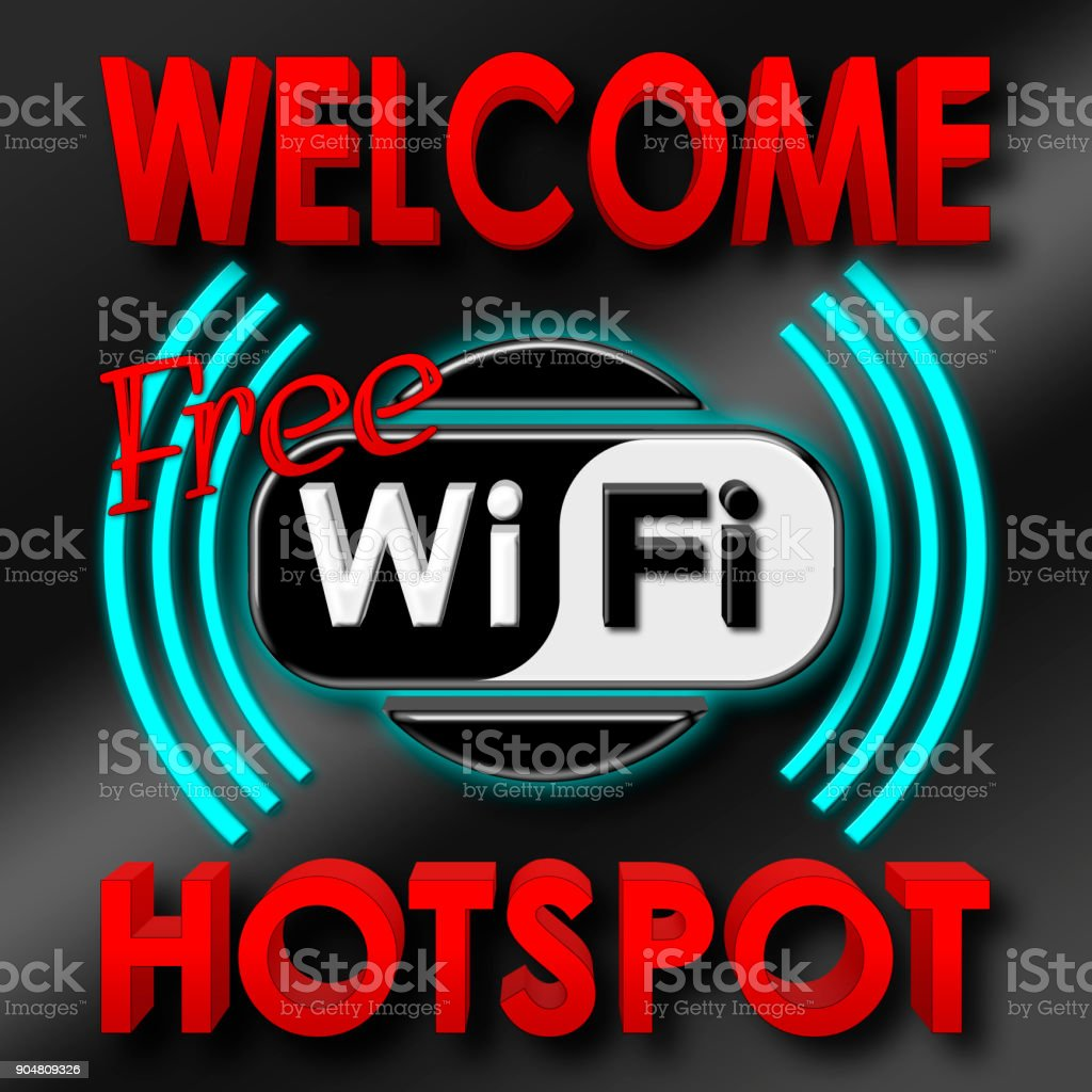 Stock Illustration - Welcome Free WiFi Hotspot, 3D Illustration, Isolated against the Black Background. stock photo