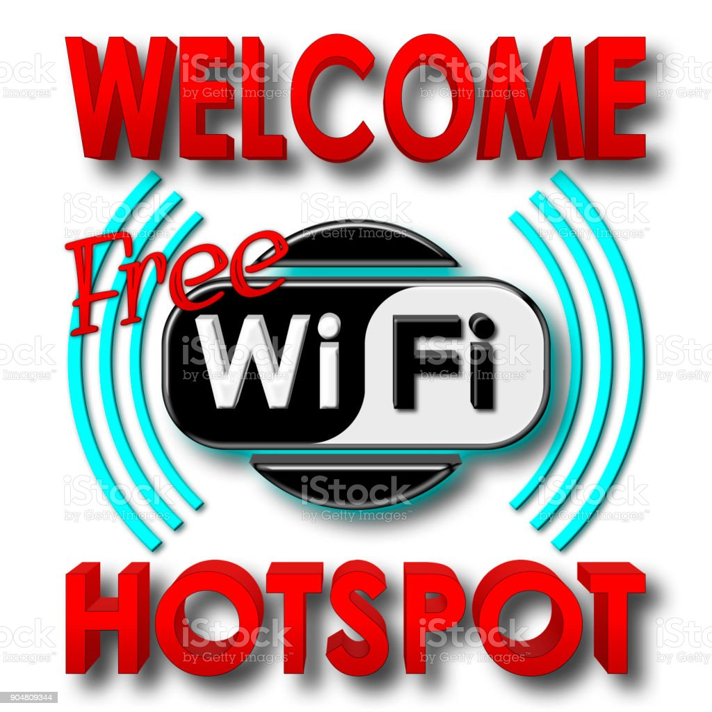 Stock Illustration - Welcome Free WiFi Hotspot, 3D Illustration, Isolated against the White Background. stock photo