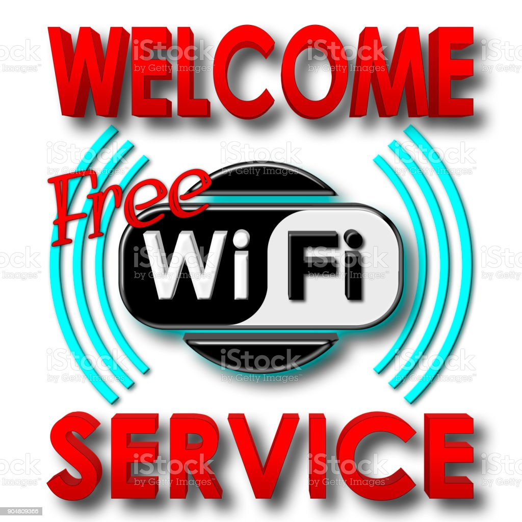 Stock Illustration - Welcome Free WiFi Service, 3D Illustration, Isolated against the White Background. stock photo