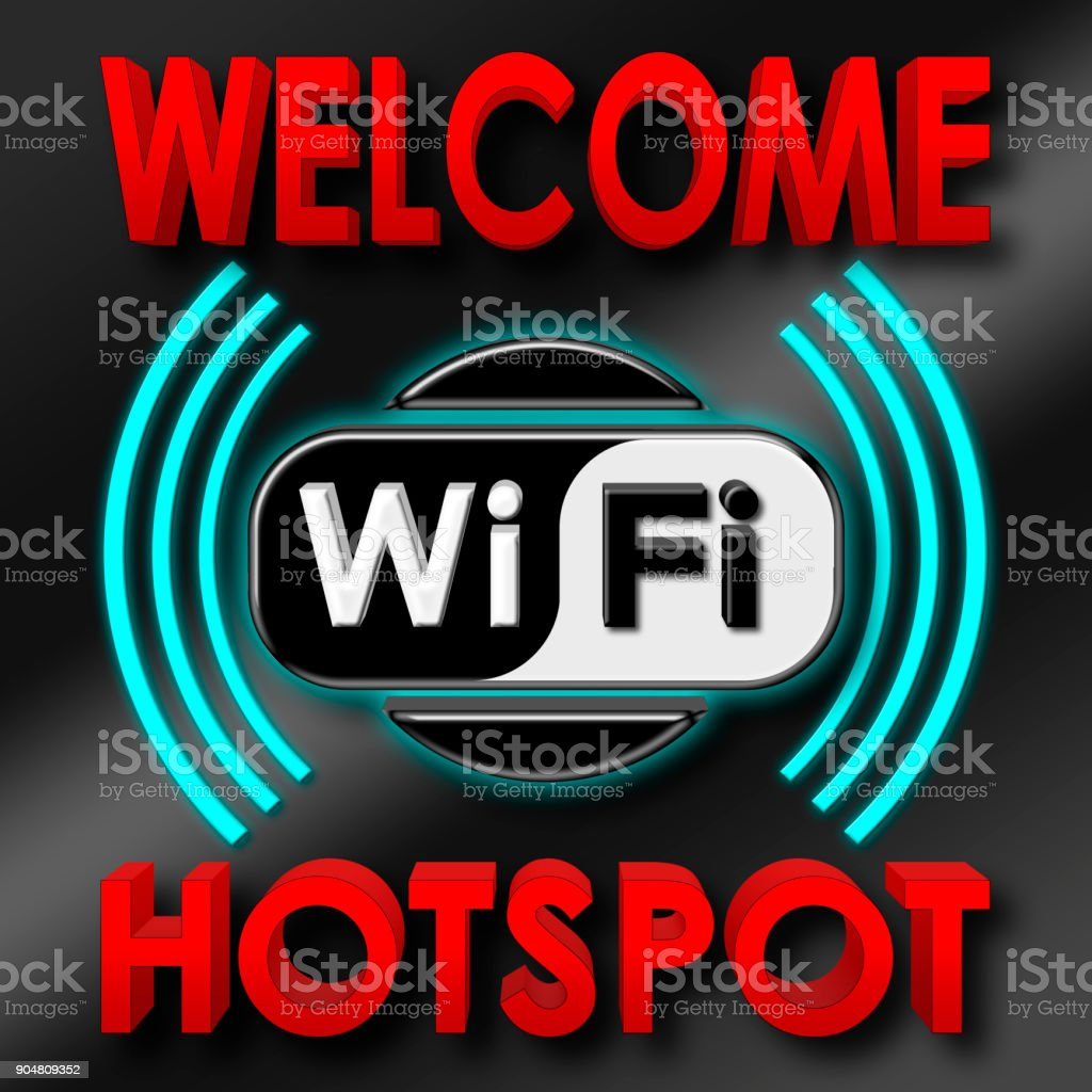 Stock Illustration - Welcome WiFi Hotspot, 3D Illustration, Isolated against the Black Background. stock photo