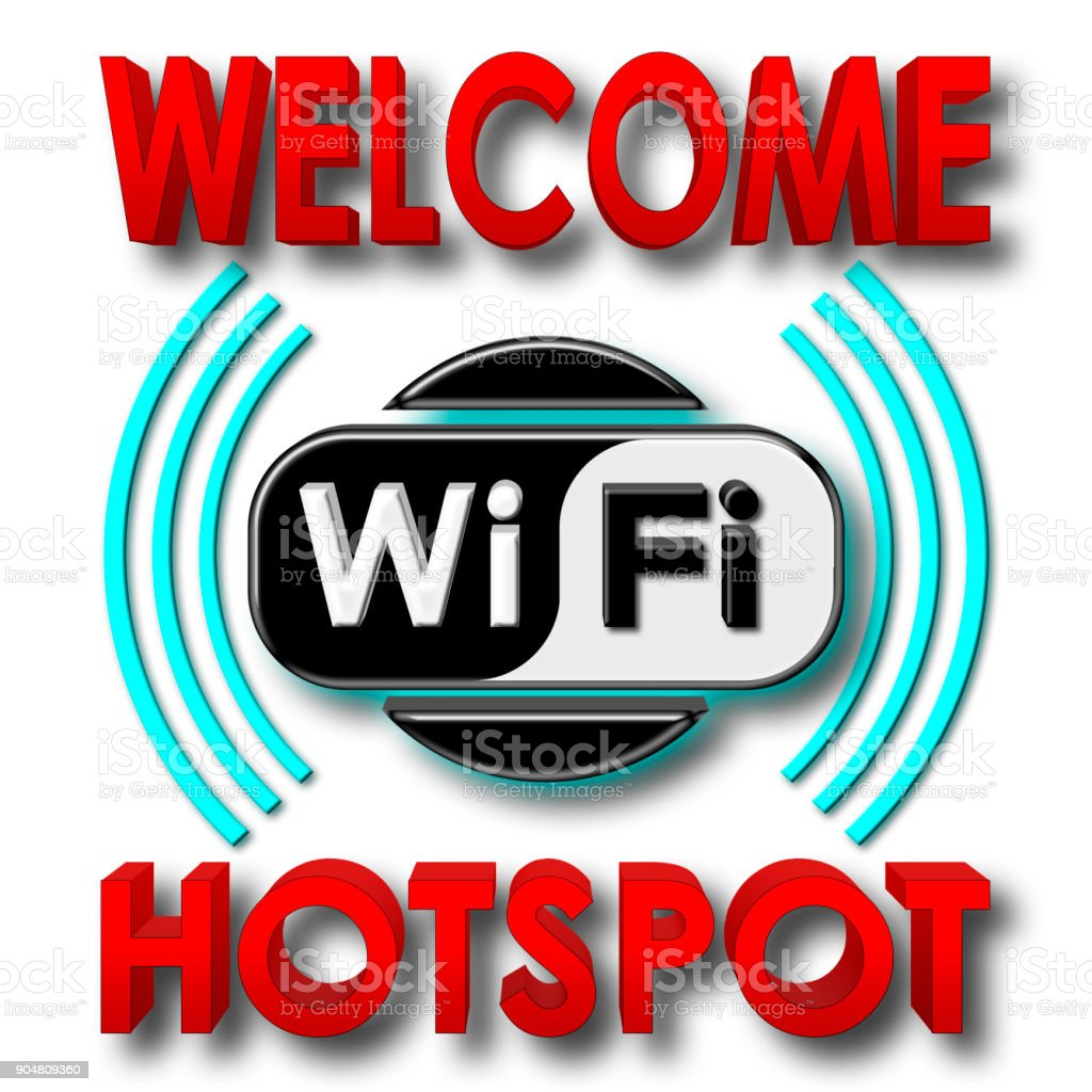 Stock Illustration - Welcome WiFi Hotspot, 3D Illustration, Isolated against the White Background. stock photo