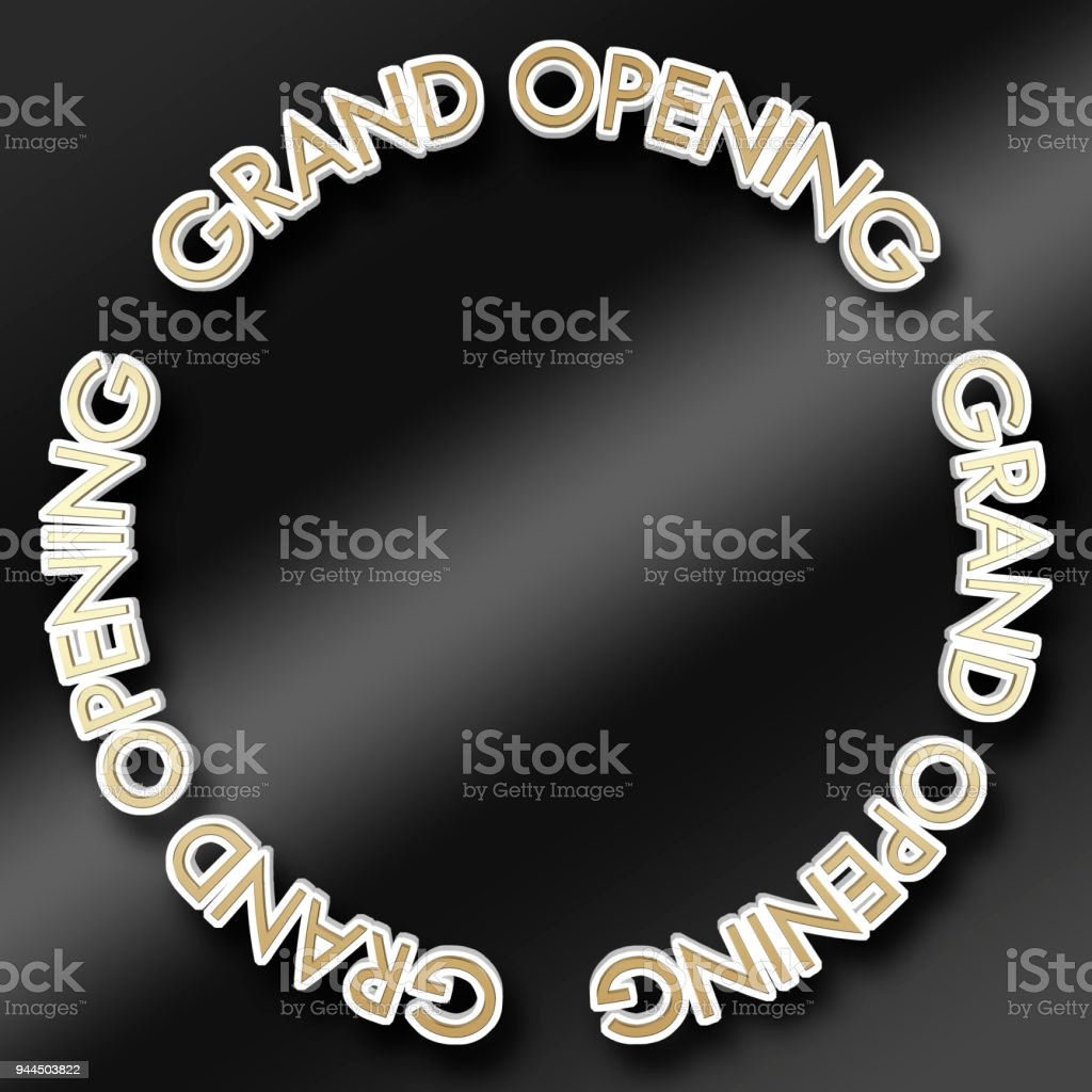 Stock Illustration White Colored Text Grand Opening Gold Colored Top ...