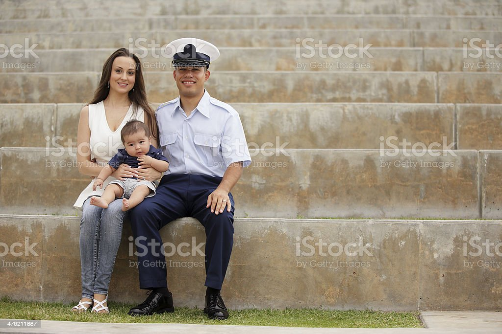 Stock image of a happy military family royalty-free stock photo