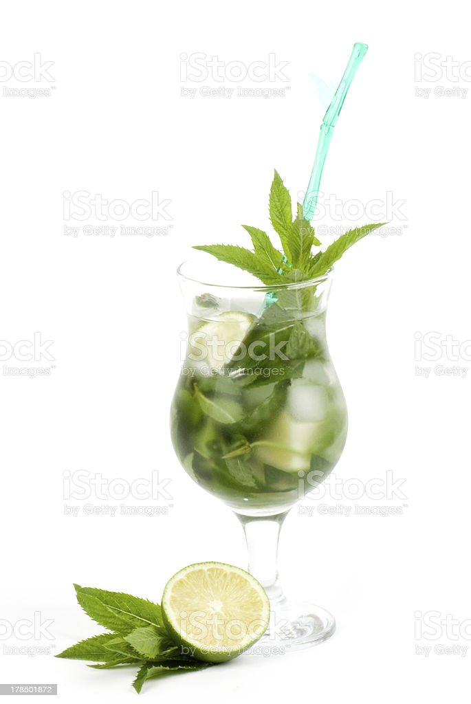 Stock image of alcohol cocktail over white background royalty-free stock photo