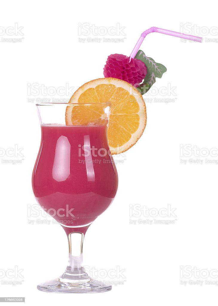 Stock image of Tequila Sunrise cocktail over white background royalty-free stock photo