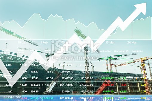 istock Stock index data analysisi of heavy construction industrial sector and real estate developer business background with chart and graph. 1022002782