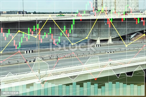 istock Stock index data of construction business and transportation industrial sector growth rate background. 962516308