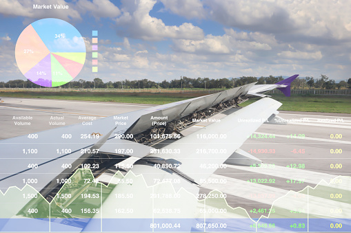 istock Stock index financial investment successful on aircraft cargo transportation business background. 1126079980