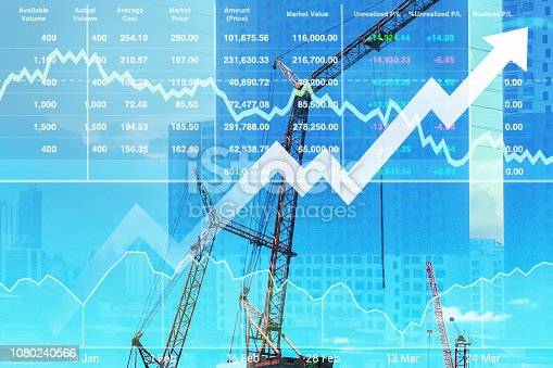 istock Stock index financial show successful investment on construction and real estate business with graph and chart for presentation background. 1080240566