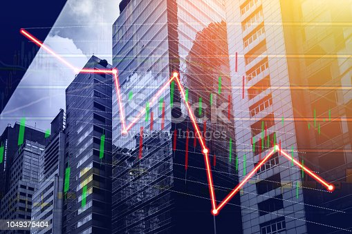istock Stock index growth shown the graph and chart in Commercial buildings background (red bear chart) 1049375404
