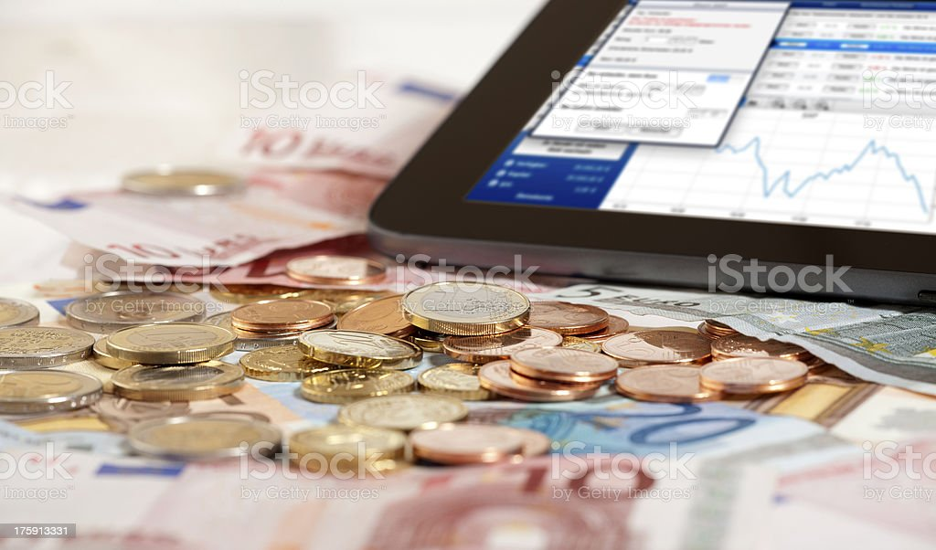 Stock index on Tablet PC royalty-free stock photo