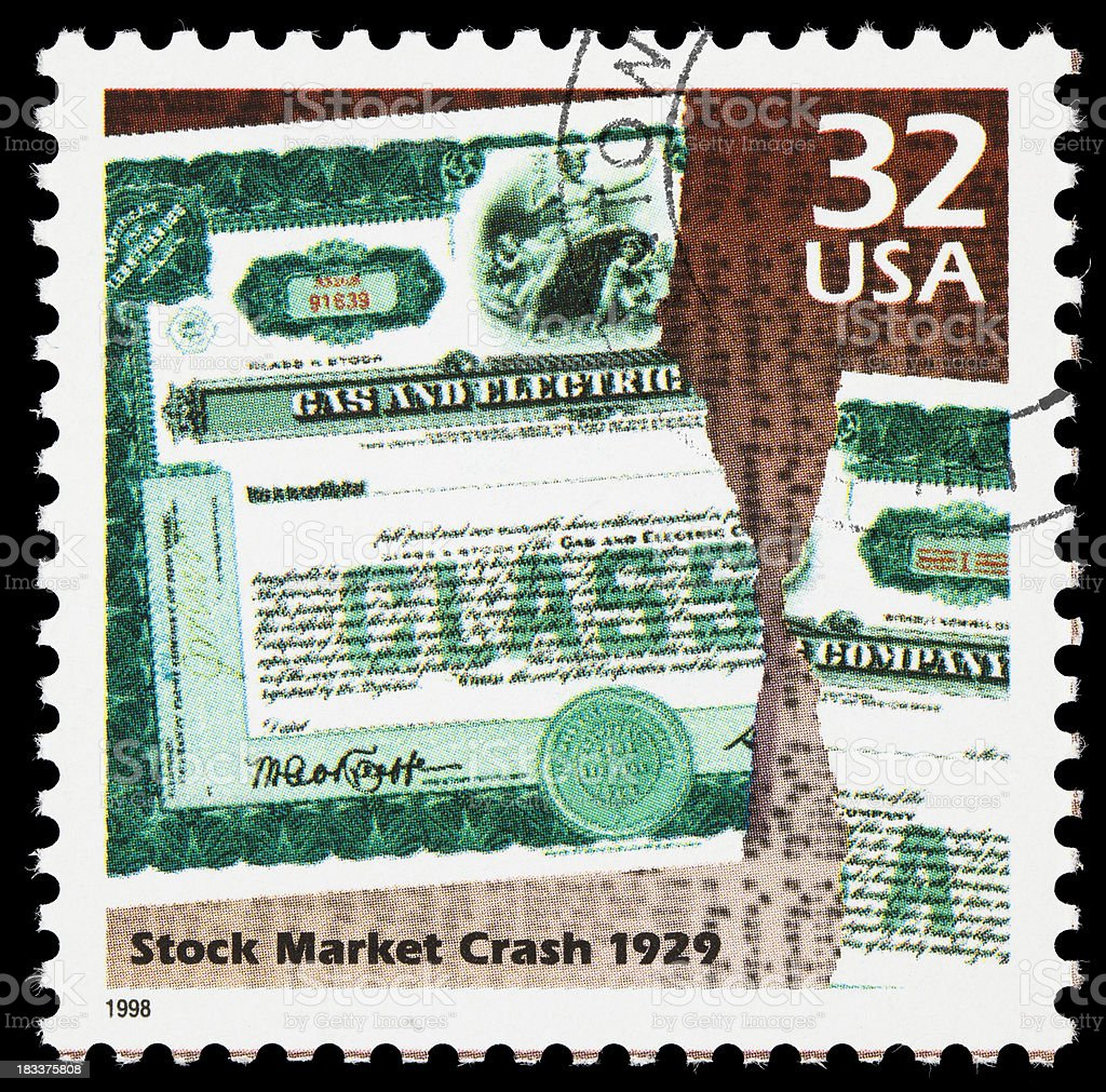 Stock market 1929 crash postage stamp stock photo