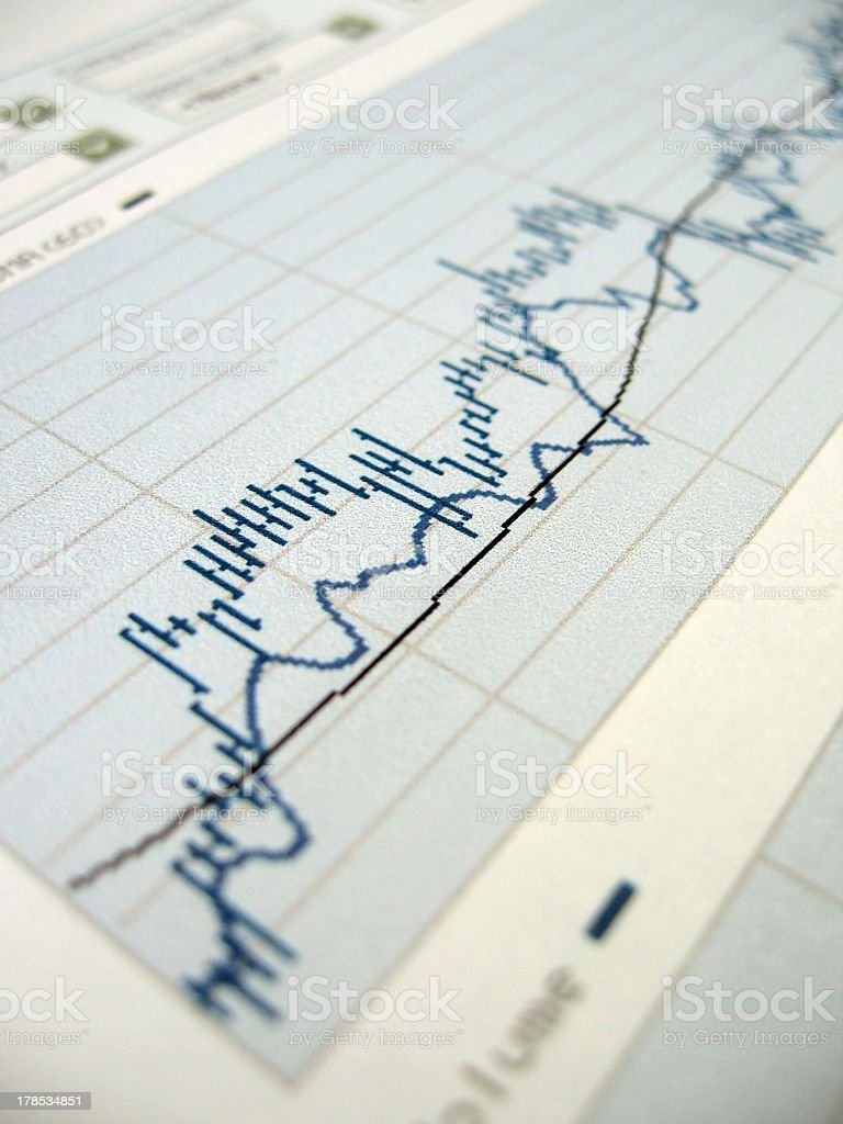 Stock market analysis on a paper graph stock photo