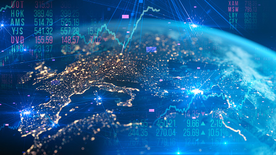 Stock Market And Financial Figures European Economy Global Business Stock Photo - Download Image Now