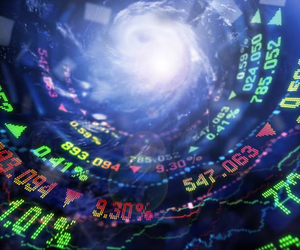 Stock Market and Hurricane stock photo