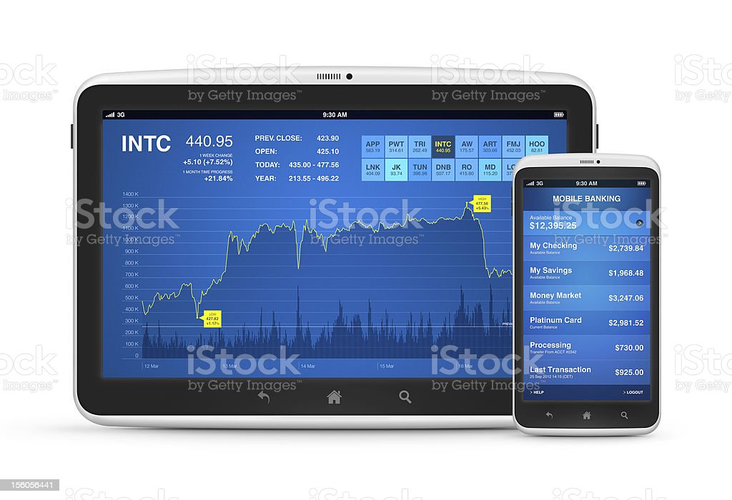 Stock market and mobile banking on digital devices royalty-free stock photo