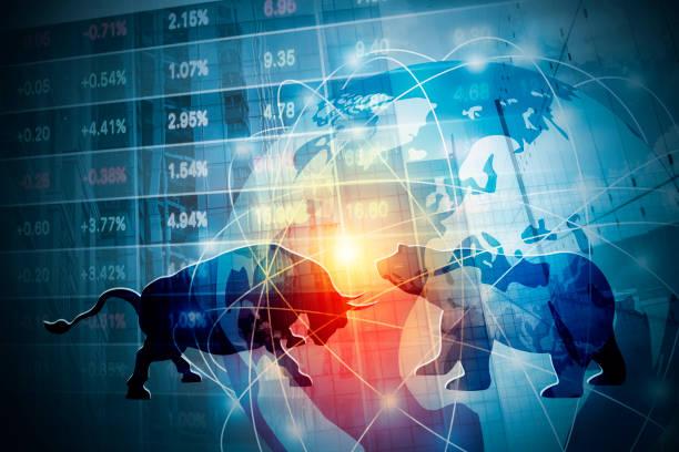 Aktienmarkt Hintergrund Konzeption von Bulle und Bär mit globalen Netzwerk – Foto