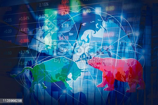 813402032istockphoto Stock market background concept design of Bull and Bear with global network 1125966258