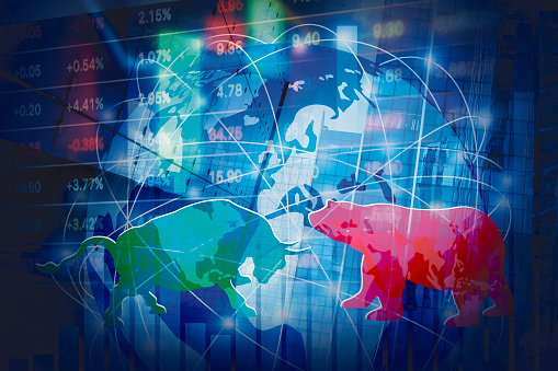 813402032 istock photo Stock market background concept design of Bull and Bear with global network 1125966258
