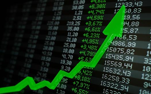 831745600 istock photo Stock market boom, financial gains, safe investment concept. Green arrow soaring over financial figures. Digital 3D render. 1215230221