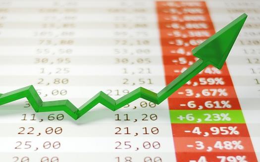 831745600 istock photo Stock market boom, financial gains, safe investment concept. Green arrow soaring over financial figures. Digital 3D render. 1215230330
