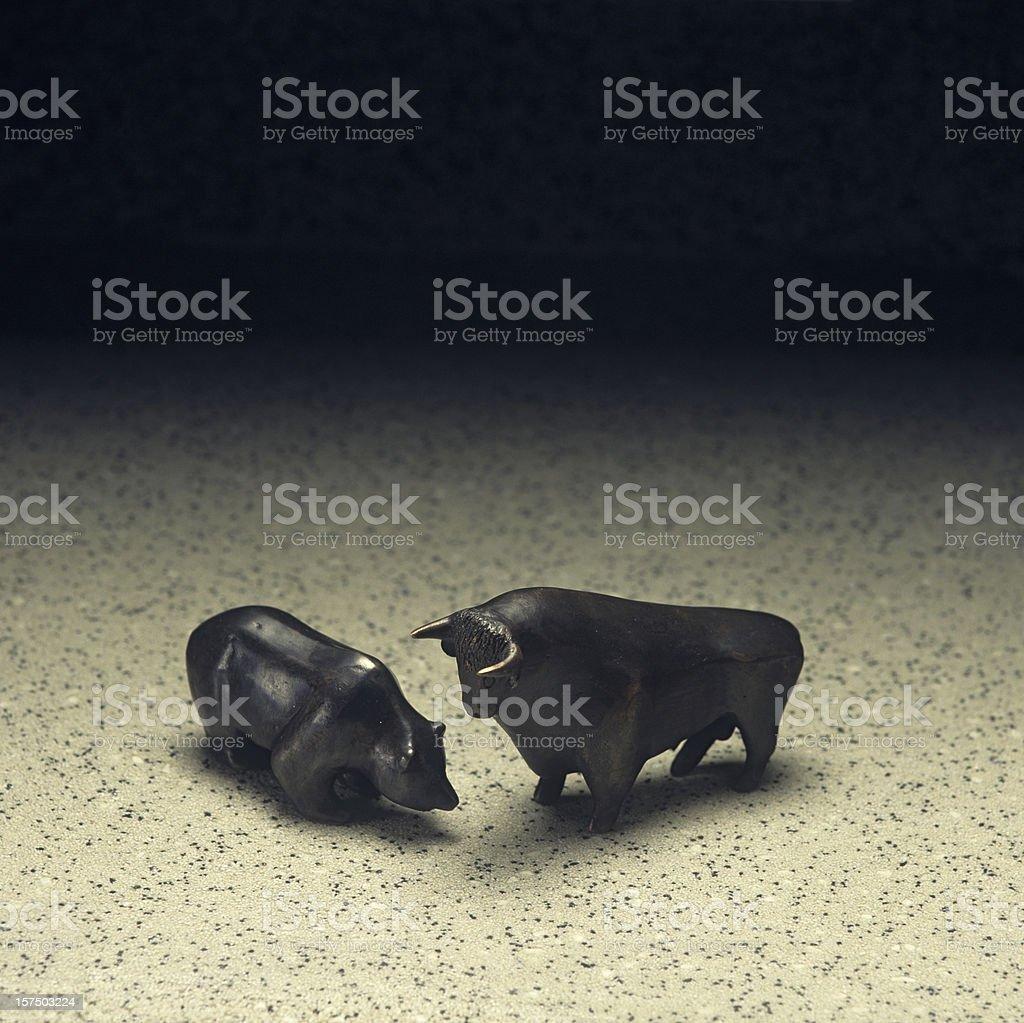Stock market: bull and bear royalty-free stock photo