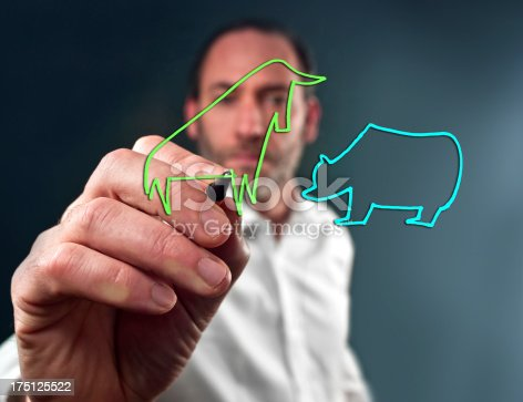Business man draws the stock market bull and bear