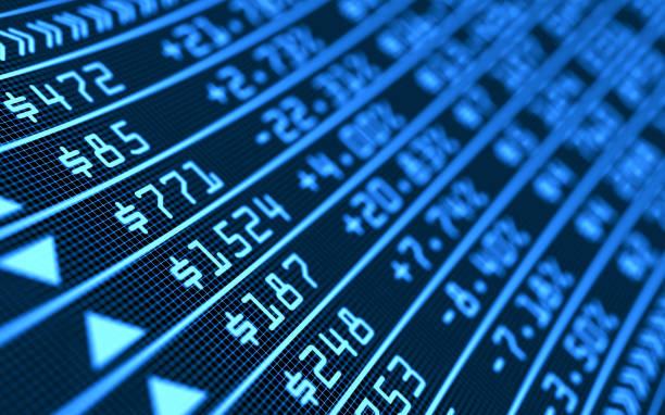 디지털 화면에 주식 시장 비즈니스 그래프 차트. 성공 및 손실 돈 개념. 트레이딩 스크린 보드. 금융 3d 그림. - 주식 시장 데이터 뉴스 사진 이미지