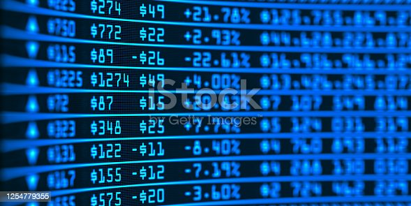 Stock market business graph chart on digital screen. Success and loss money concept. Trading screen board. Financial 3d illustration.
