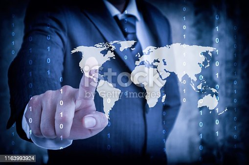 872670540 istock photo stock market Businessman in suit point finger touching empty virtual screen, modern business forecasts and competition concept 1163993924