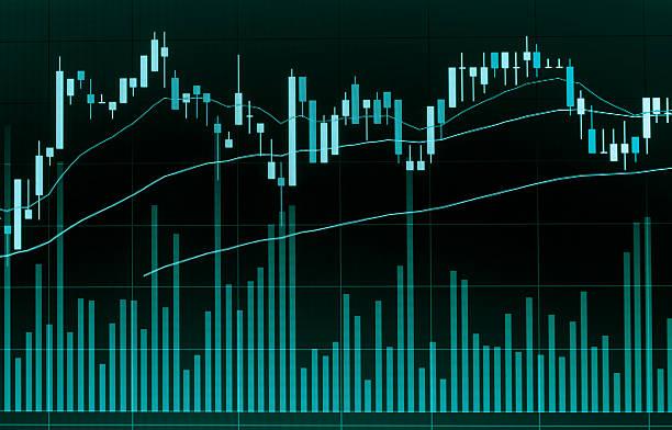 candela mercato azionario grafico analisi su schermo. - diagramma a colonne foto e immagini stock